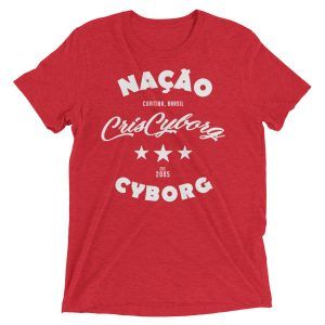 "T-Shirt – ""Retro Nacao Cyborg"" – Triblend – Red"