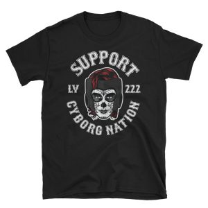 "T-Shirt – ""Cyborg Nation LV 222 Supporter Crew"" – Black"