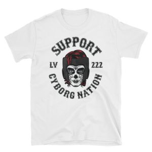 "T-Shirt – ""Cyborg Nation LV 222 Supporter Crew"" – White"