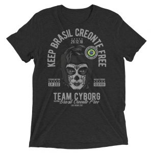 "T-Shirt – ""Keep Brasil Creonte Free"" #1 – Triblend – Black"