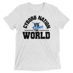 "T-Shirt – ""Cyborg Nation Change the World"" – Triblend – White & Blue"