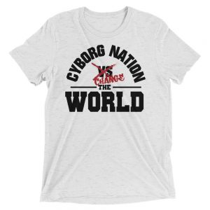 "T-Shirt – ""Cyborg Nation Change the World"" – Triblend – White & Red"